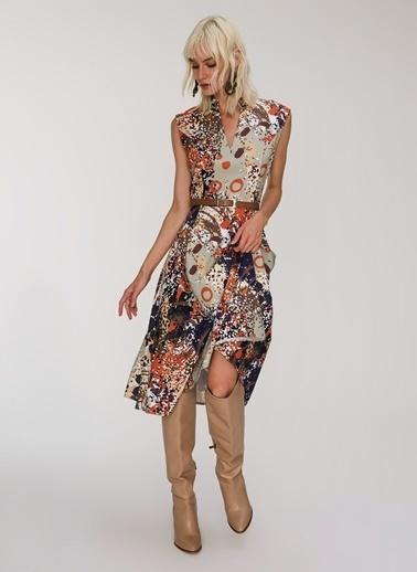 People By Fabrika Bol Kesim Desenli Elbise Renkli
